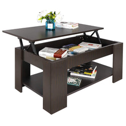 ZENY™ Wood Lift-up Top Coffee Table w/Hidden Storage & Shelf