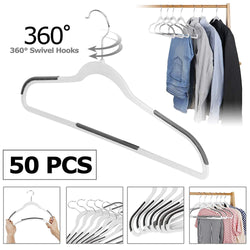 ZENY™ 50/100 Pack Plastic Coat Hangers, Space Saving Clothes Hanger with Non-Slip Stripe and 360° Swivel Hooks