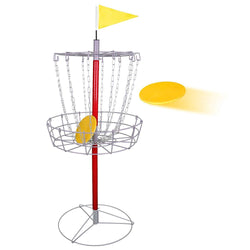 ZENY™ Protable Disc Golf Basket Target - 24 Chain Metal Frisbee Golf Goals Set Catcher