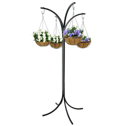 ZENY™ Yard Arm Tree w/ 4 Hanging Baskets Hanging Garden System