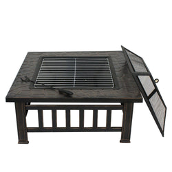 "ZENY™ Fire Pit Outdoor 32"" Metal Firepit Backyard Patio Garden Square Stove Fire Pit with Cover"