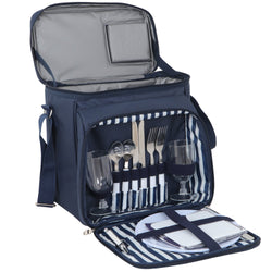 ZENY™ Picnic Backpack w/Cooler Compartment, Detachable Bottle, Blanket, Plates and Cutlery Set