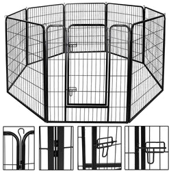 ZENY™ Foldable Metal Exercise Pen & Pet Playpen Puppy Cat Exercise Fence Barrier Playpen Kennel 8 Panels