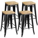 "ZENY ™Set of 4 Metal Bar Stools 26"" Counter Height with Wooden Seat Stackable Indoor/Outdoor Barstools, 330 lbs Capacity"