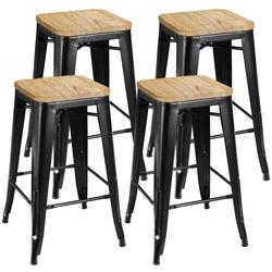 "ZENY™Set of 4 Metal Bar Stools 26"" Counter Height with Wooden Seat Stackable Indoor/Outdoor Barstools, 330 lbs Capacity"