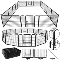 ZENY™ Foldable Metal Pet Playpen 16 Panels Exercise Puppy Fence Barrier Kennel