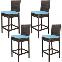 ZENY™ Outdoor All Weather Wicker Bar Stools with Cushions, Patio Furniture Bar Stool (Set of 4)
