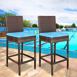 ZENY™ Outdoor 2 Pcs All Weather Patio Furniture Brown Wicker Barstool with Cushions, Blue