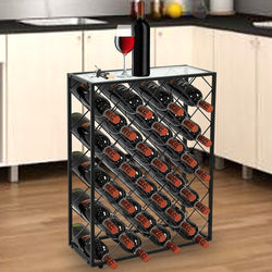ZENY™ Metal 32 Bottle Wine Rack W/ Glass Table Top Wine Display and Storage Rack