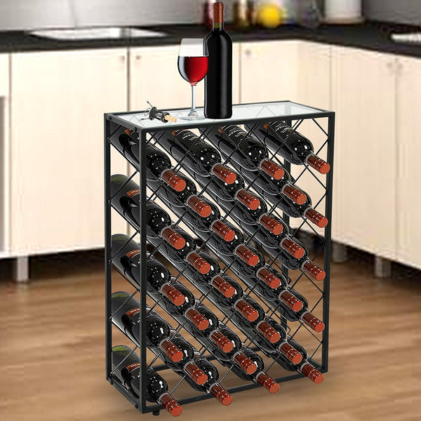 Zeny Metal 32 Bottle Wine Rack W Glass Table Top Wine