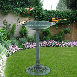 "ZENY™ Birdbath 28"" Height Outdoor Garden Verdigris Bird Bath Feeder Decor Vintage Yard Art"