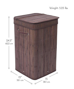 ZENY™  Square Laundry Hamper Bamboo, Espresso Easily Transport Laundry Basket w/ String Handles