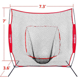 ZENY™ 7'×7' Baseball Softball Practice Net Batting Training Net w/ Carrying Bag&Metal Bow Frame