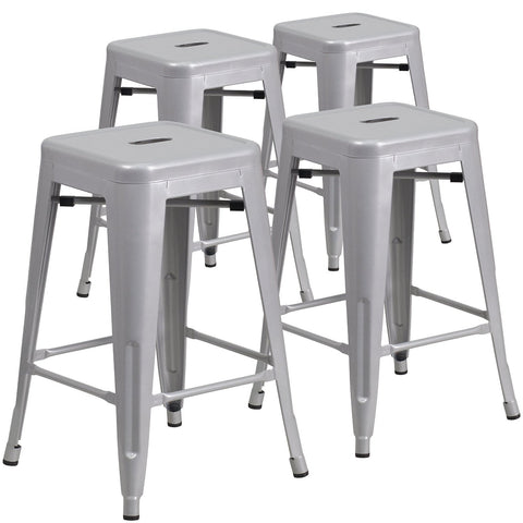 "ZENY™4 Pcs 30"" High Backless Silver Metal Indoor-Outdoor Barstool with Square Seat"