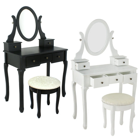ZENY™ Wood Vanity Table with Mirror Make-Up Desk Dresser w/ Stool Set 5 Drawer