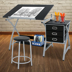 ZENY™ Black Drafting Table Art,Craft Drawing Desk Art Hobby Table Folding Adjustable with Stool Chair