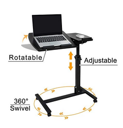 ZENY™ Swivel Laptop Rolling Cart Table Height Adjustable Notebook Laptop Stand Desk w/Wheels Casters