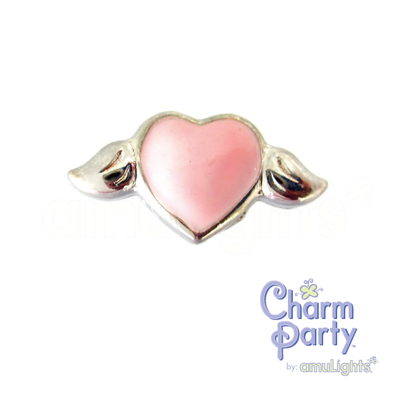 Light Pink Heart Wings Charm