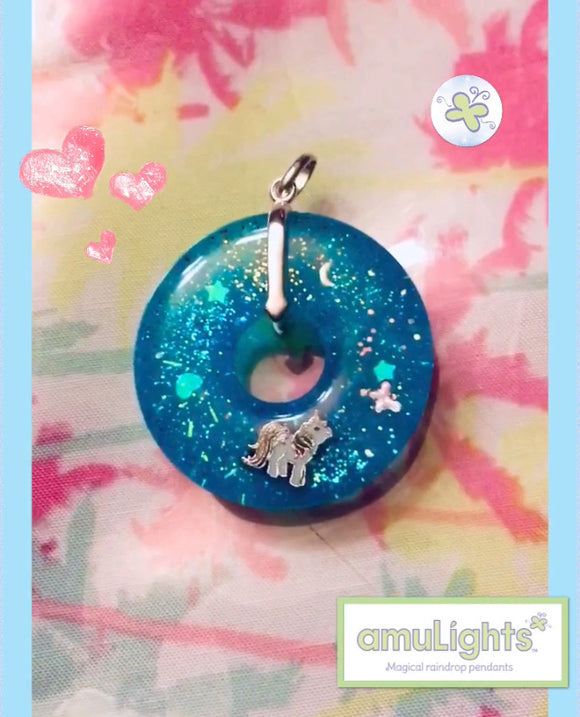 Blue UnicornDewDrops: Ring Pendants