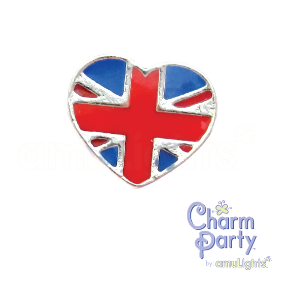British Flag Heart Charm