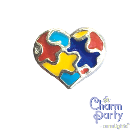 Puzzle Heart Charm