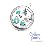 Teal Key Heart Charm