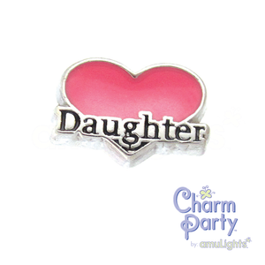 Daughter Pink Heart Charm