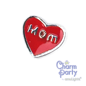 Red Mom Heart Charm