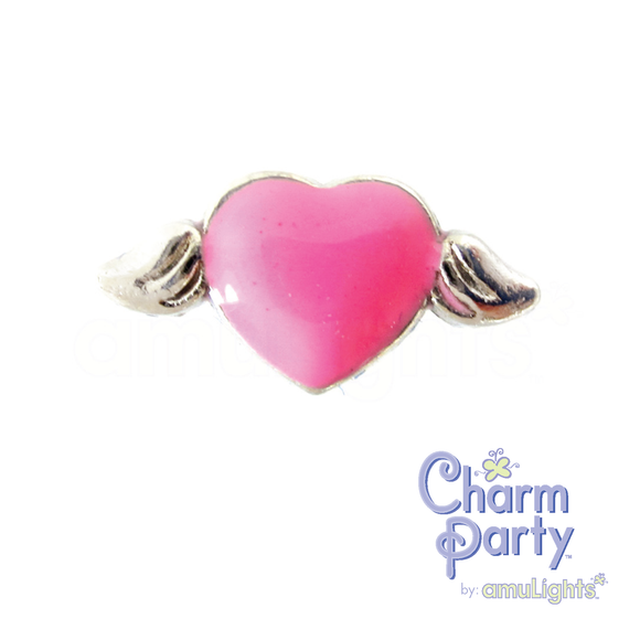 Bight Pink Heart Wings Charm