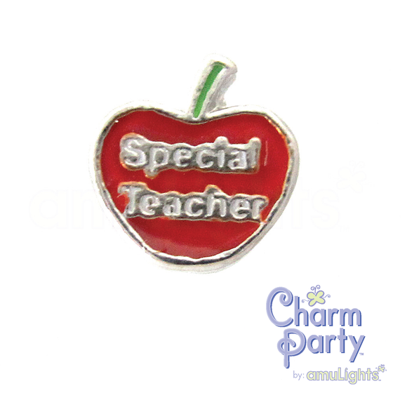 Special Teacher Apple Charm