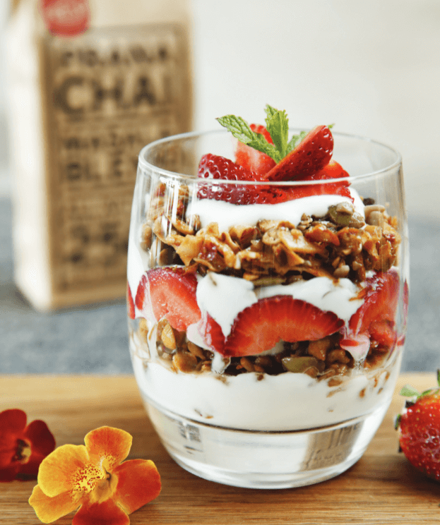Prana Chai granola parfait with yogurt & strawberries