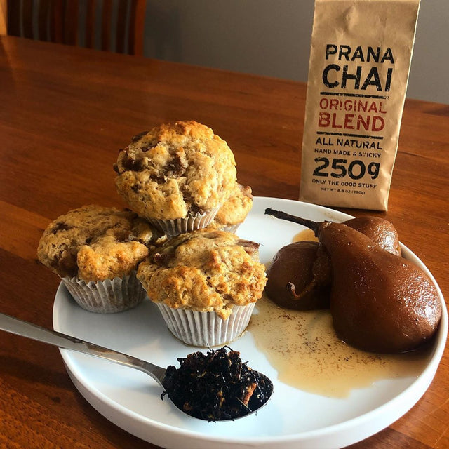 Kelseymilman's Chai Poached Pear Muffin #PranaMyWay