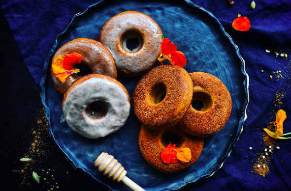 Sweet Potato Doughnuts with Coconut Chai Glaze