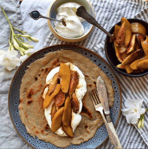Chai Crepes with Salted Caramel Apples & Figs