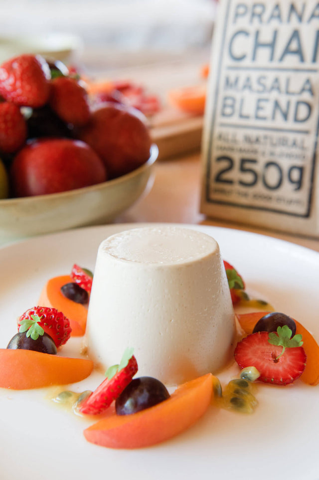 Chai Pannacotta with Seasonal Fruit