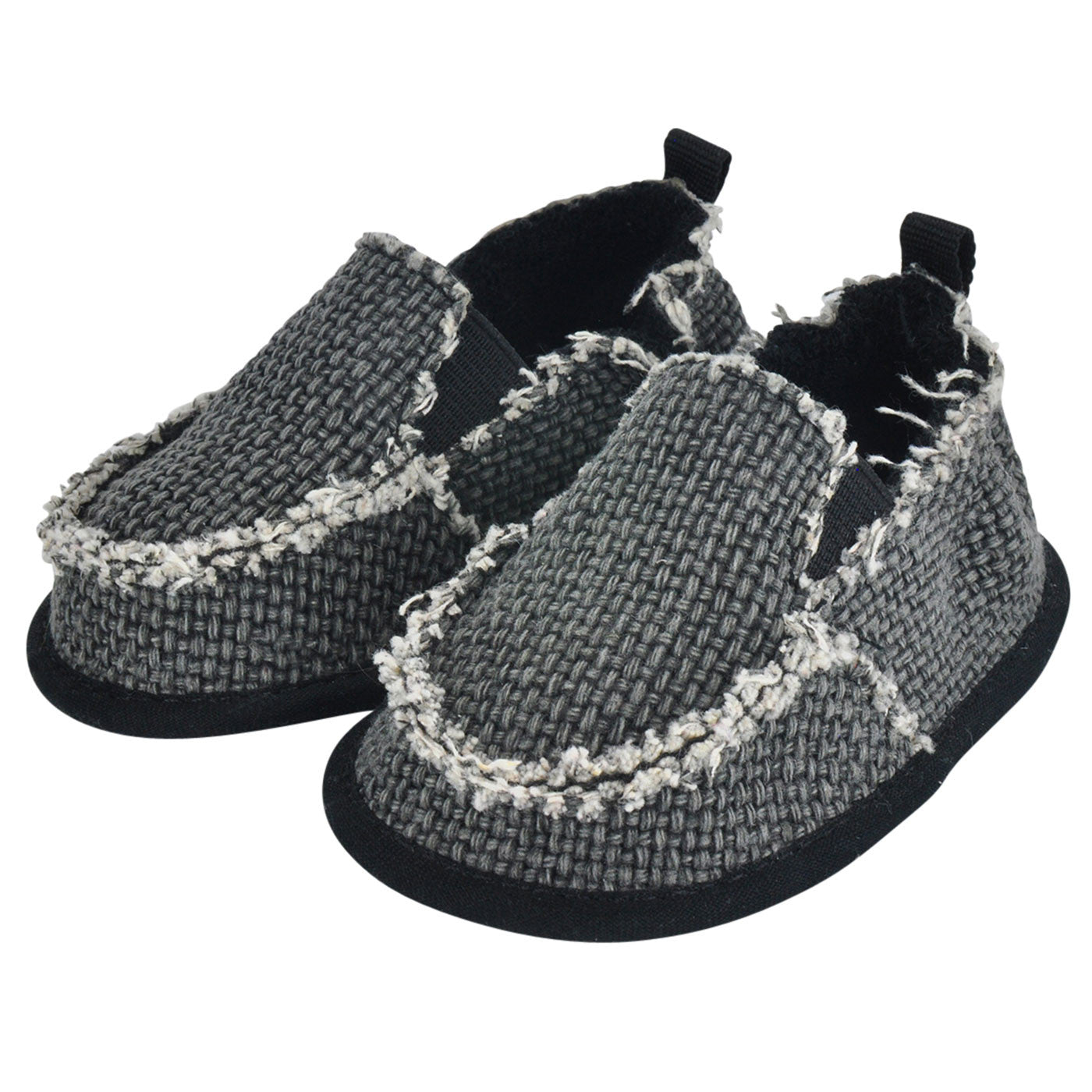 Slip Baby Shoes Moccasins Black Burlap Cruiser