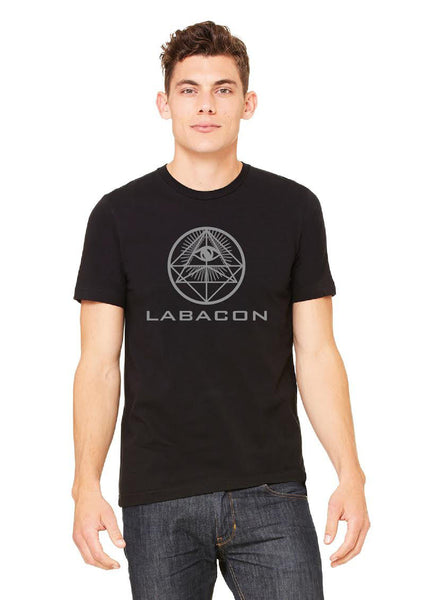 LABACOИ SACRED GEOMETRY, Silver on Black T-shirt