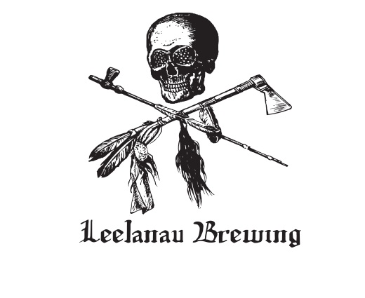 Leelanau Brewing Jolly Roger, Red on Black T-shirt