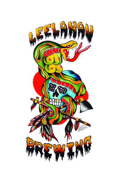 Leelanau Brewing Four-Breasted Cobra on Skull T-shirt