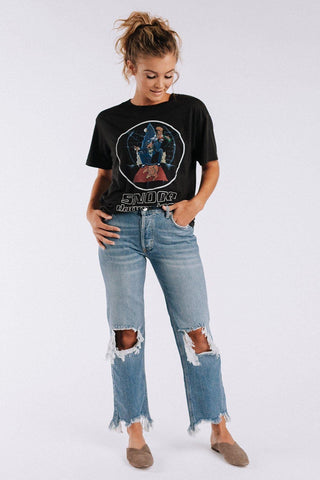 Clad and Cloth: Free People Maggie Mid Rise Straight Jeans in Light Stone