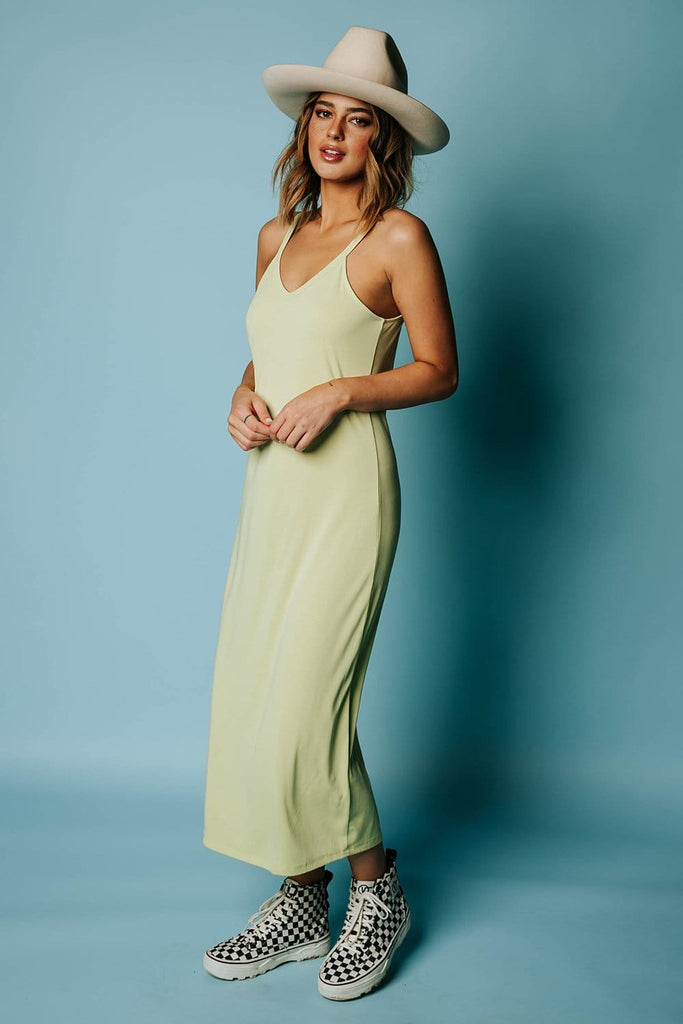 Abigail Midi Dress in Lime Green