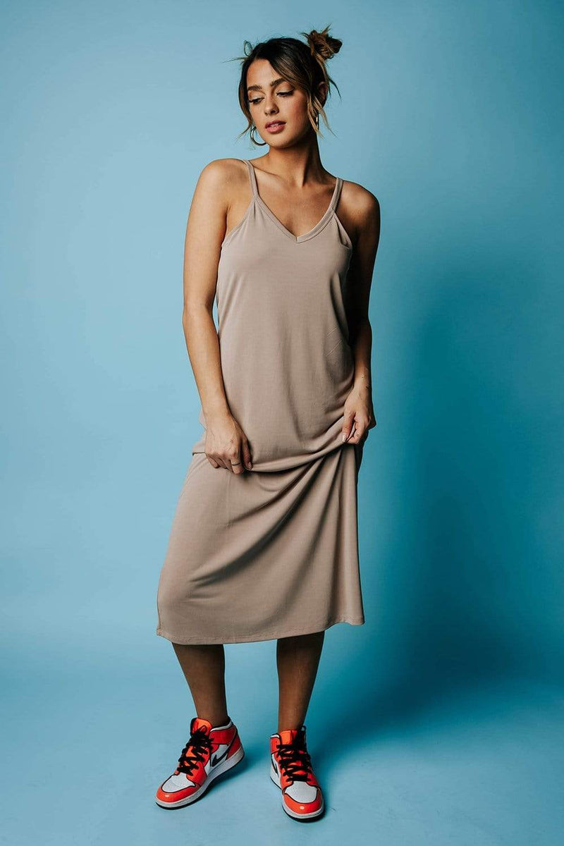 Abigail Midi Dress in Neutral