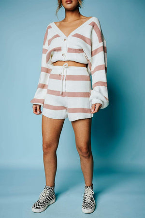 All I Want Striped Set in Mauve