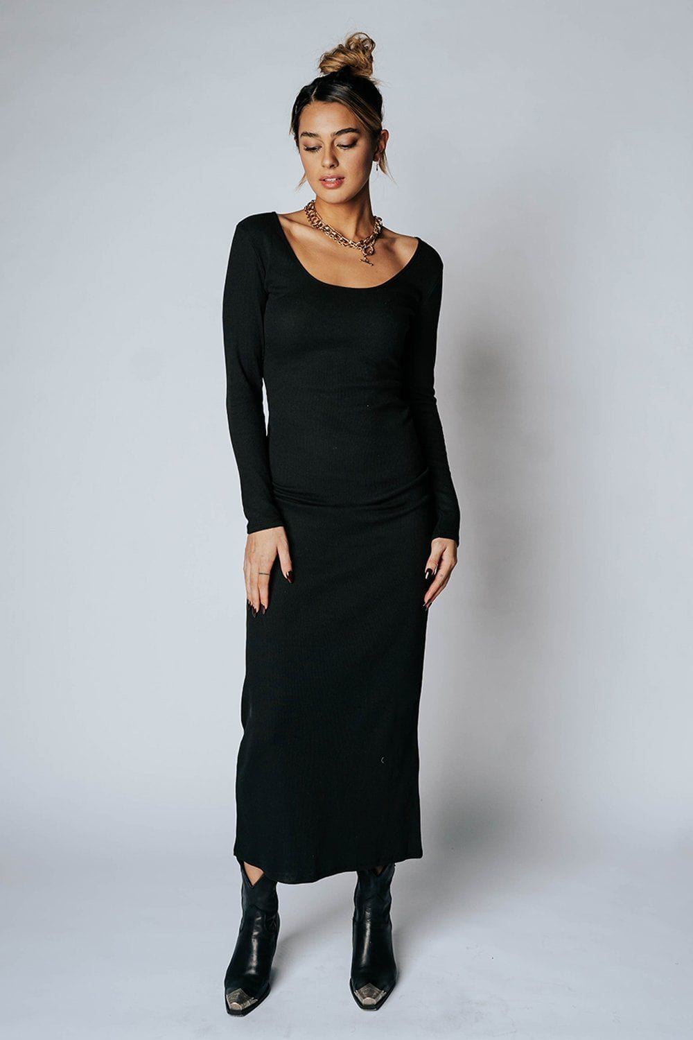 Back In Black Maxi Dress Heart & Hips Clad and Cloth