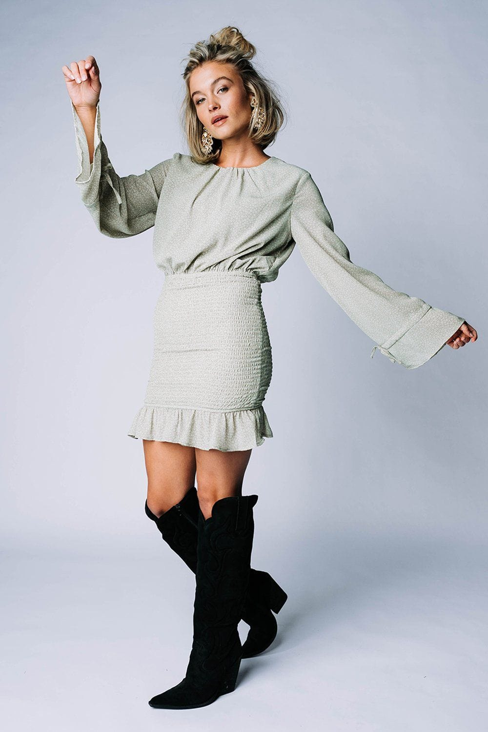 Can't Buy Me Love Mini Dress in Sage, cladandcloth, n/a.