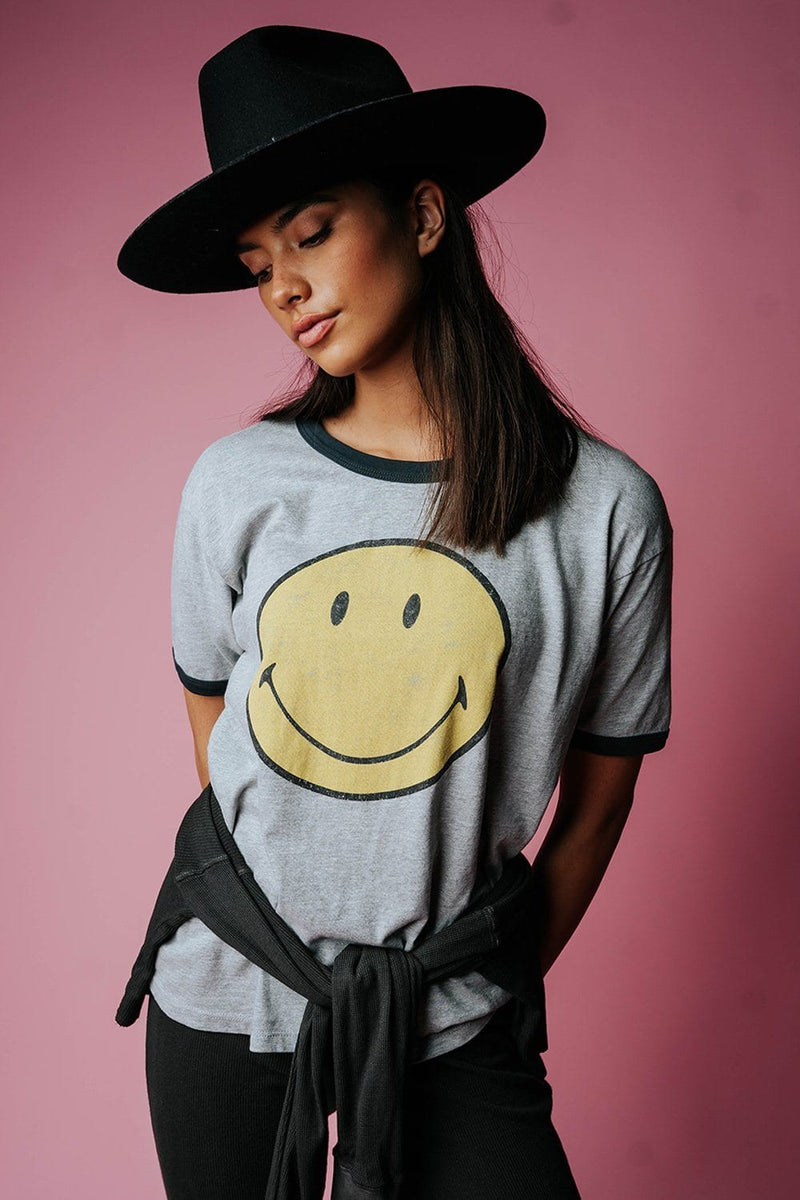 Clad and Cloth, Classic Smiley Oversized Ringer Tee, Daydreamer, Tees.