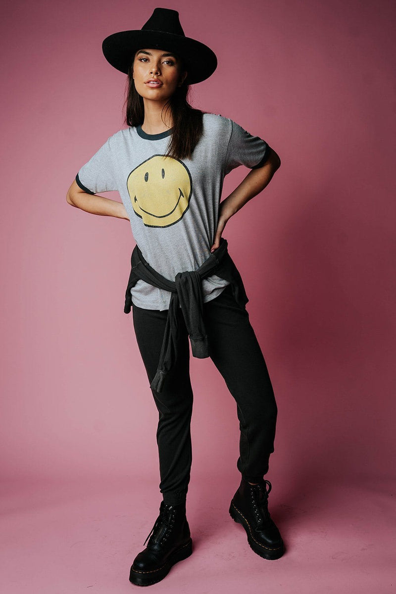 Classic Smiley Oversized Ringer Tee Top Daydreamer Clad and Cloth