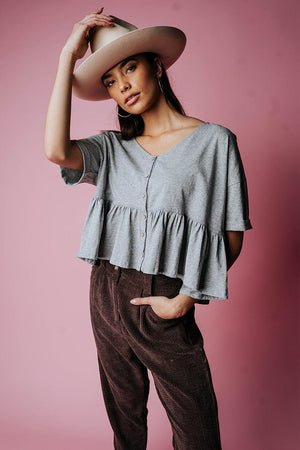 Come and Get Your Love Top in Grey Top n/a Clad and Cloth