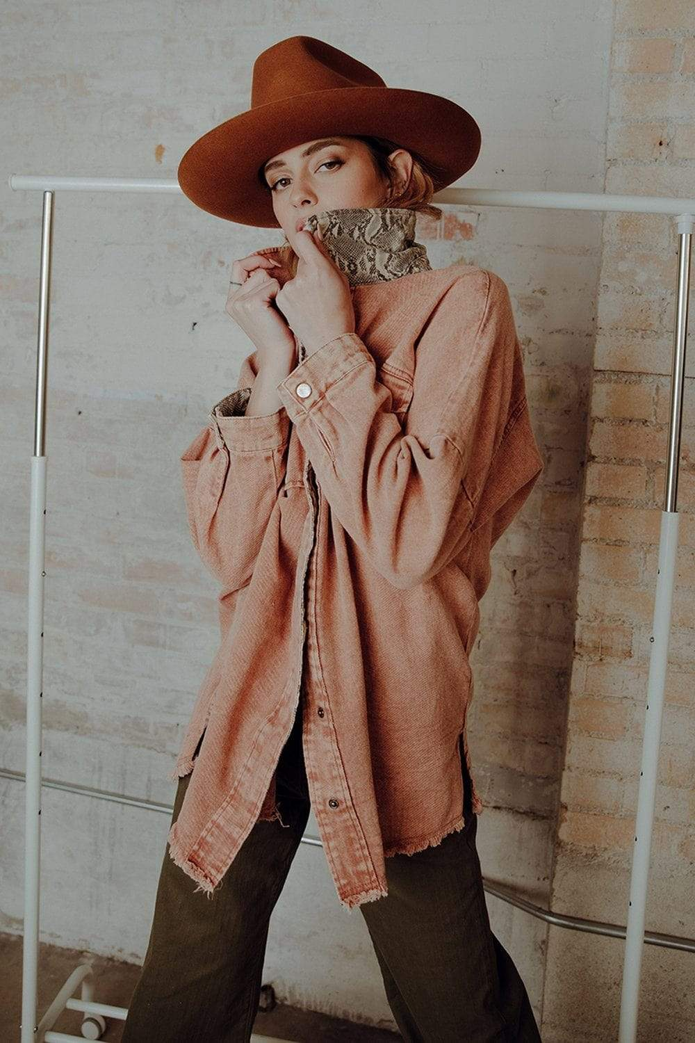 Counting Down Oversized Denim Jacket in Cinnamon Top n/a Clad and Cloth