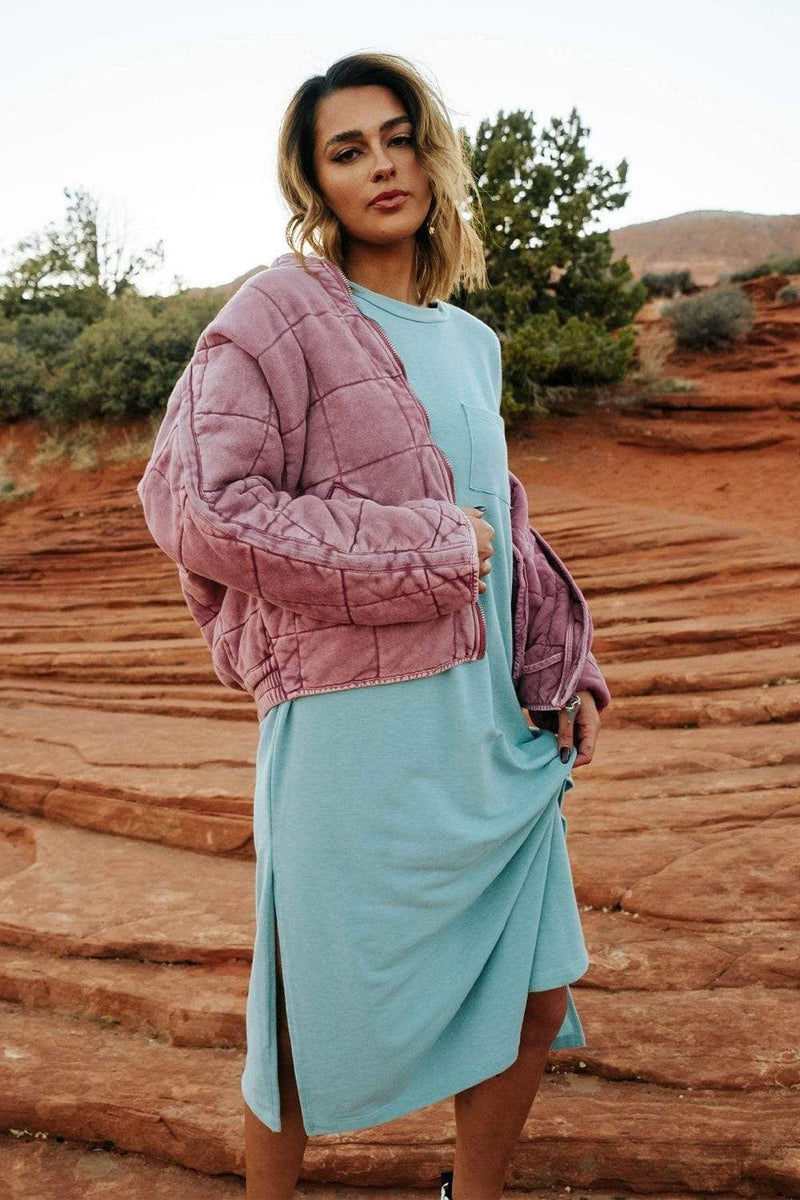 Clad and Cloth, Free People Dolman Quilted Knit Jacket in Daphne, Free People, Jacket.